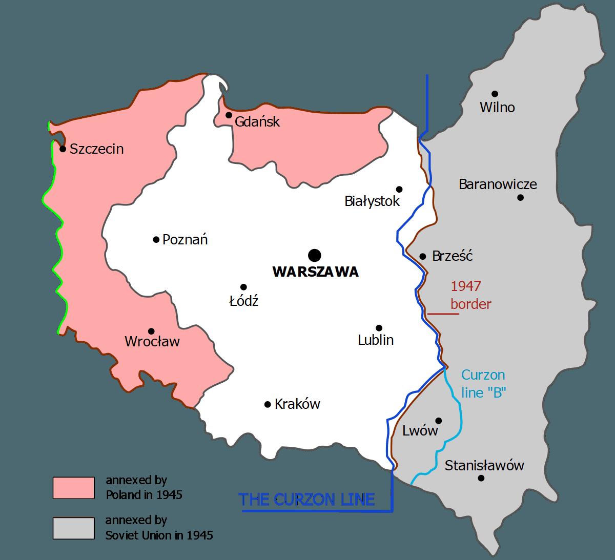 Konturowa mapa Polski z zaznaczonymi granicami współczesnymi oraz sprzed drugiej wojny światowej, z widocznymi obszarami utraconymi i zyskanymi w jej wyniku. Ponadto zaznaczono dwa warianty linii Curzona.