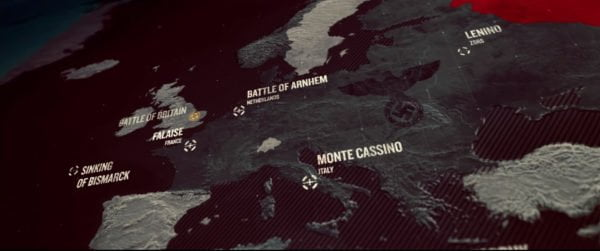 """Kadr z filmu """"Niezwyciężeni"""", na którym widoczna jest mapa Europy z zaznaczonymi miejscami niektórych bitew II wojny światowej, w których wzięli udział Polscy żołnierze."""