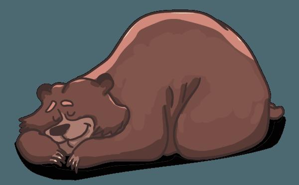 Rysunek przedstawiający leżącego, uśmiechającego się przez sen misia brunatnego